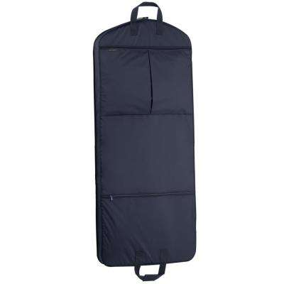 52 in. Navy Dress Length Carry-On Garment Bag with 2-Pockets