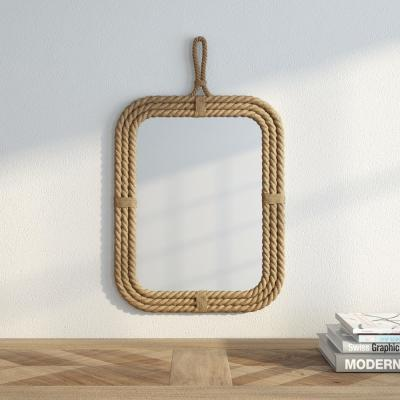 24 in. H x 15 in. W Rectangular Rope Wrapped Mirror