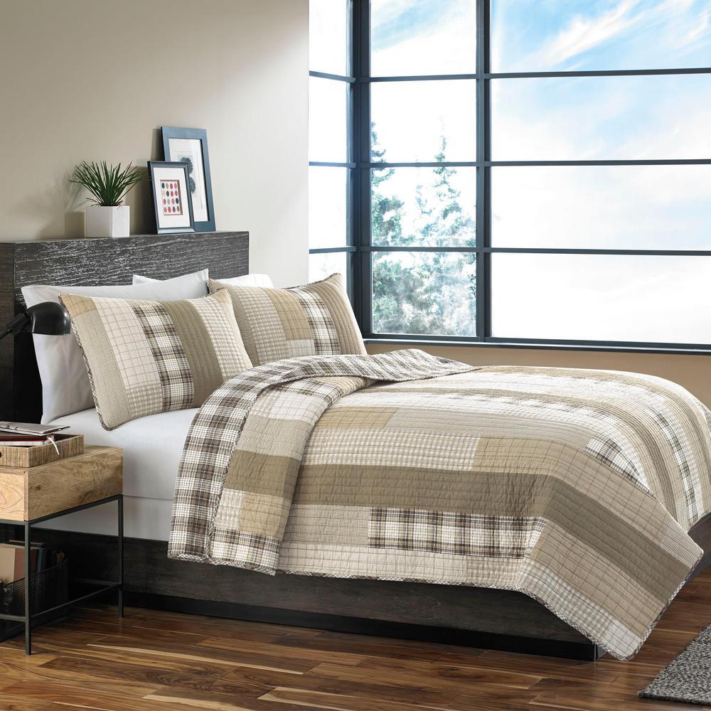 Fairview 3-Piece Saddle Plaid Cotton Full/Queen Quilt Set