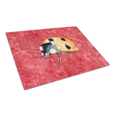 Lady Bug on Red Tempered Glass Large Cutting Board