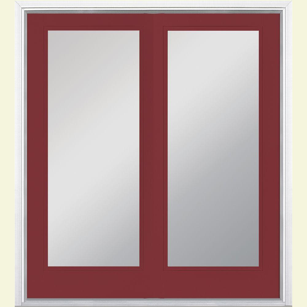Masonite 60 in. x 80 in. Red Bluff Prehung Right-Hand Inswing Full Lite Steel Patio Door with Brickmold in Vinyl Frame