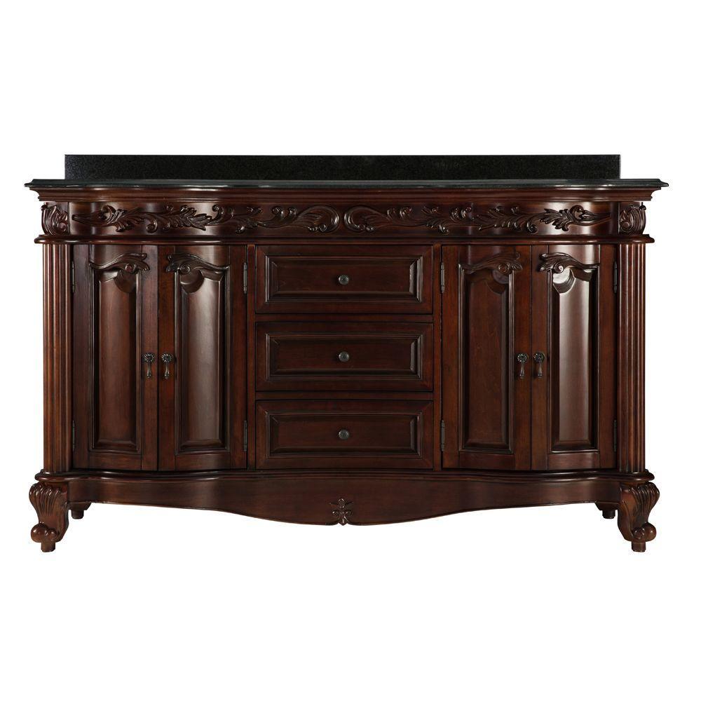 Estates 61 in. Vanity in Rich Mahogany with Granite Vanity Top in Black and 2 Sink Basins in White