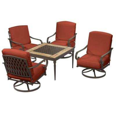 Oak Cliff Brown 5-Piece Steel Outdoor Patio Fire Pit Conversation Seating Set with CushionGuard Quarry Red Cushions