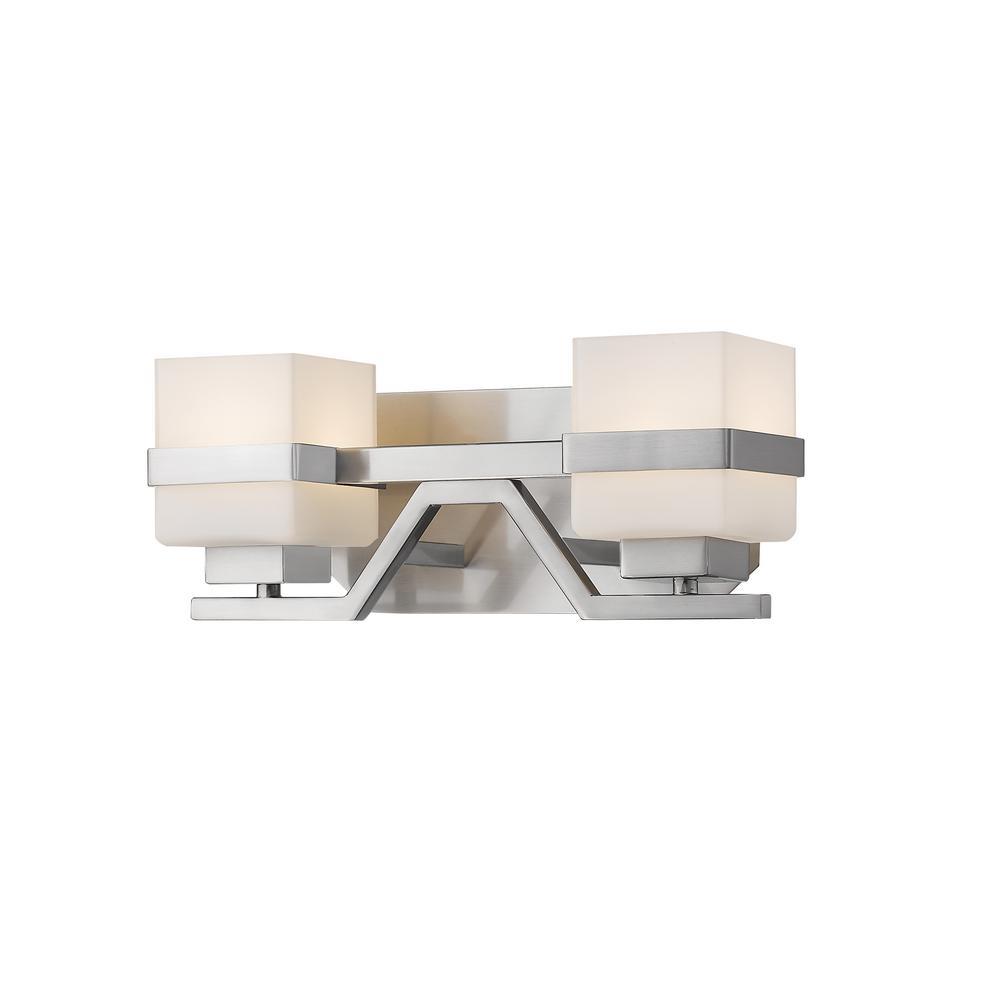 Luke 60-Watt Brushed Nickel Integrated LED Bath Light with Matte Opal Glass Shade