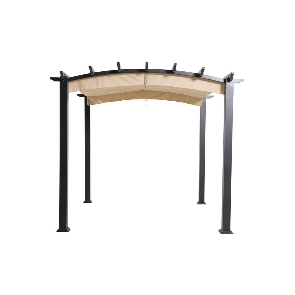 Hampton bay 9 ft x 9 ft steel and aluminum arched pergola with retractable canopy gfm00469a for Pergola aluminium x