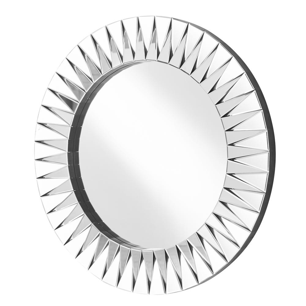 Decor Flair Emory 39.5 in. Contemporary Round Mirror with Clear MDF ...