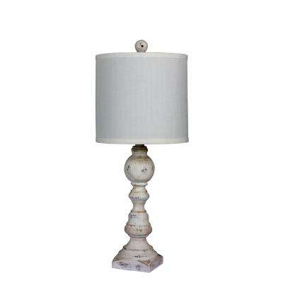 26 in. Distressed Balustrade Resin Table Lamp in a Cottage Antique White