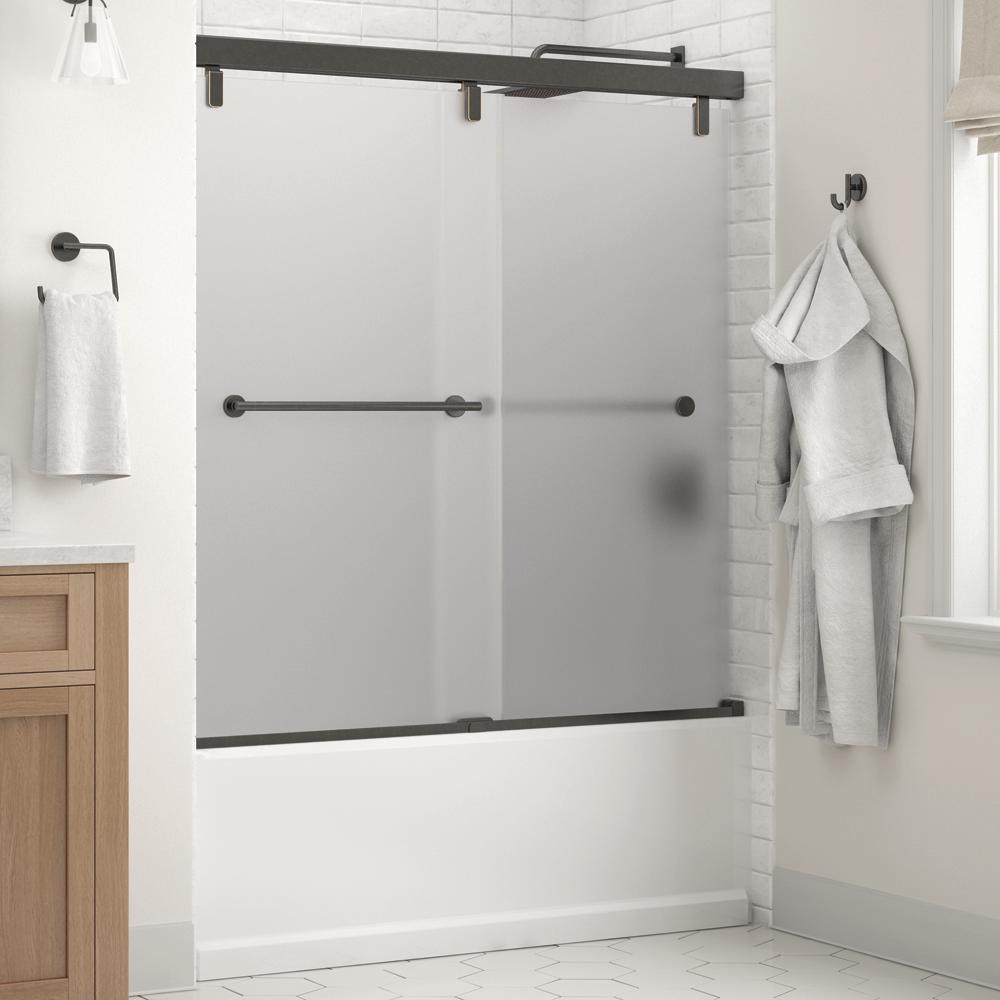 Everly 60 in. x 59-1/4 in. Mod Semi-Frameless Sliding Bathtub Door in Bronze and 1/4 in. (6mm) Niebla Glass