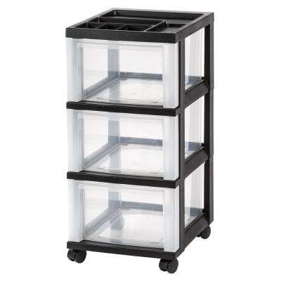 12.05 in. x 26.44 in. Black 3-Drawer Storage Cart with Organizer Top (2-Pack)