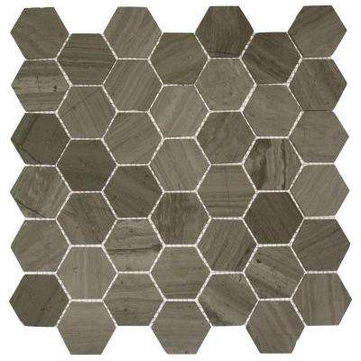 Hexagon Wooden Beige 12 in. x 12 in. x 8 mm Mosaic Floor and Wall Tile