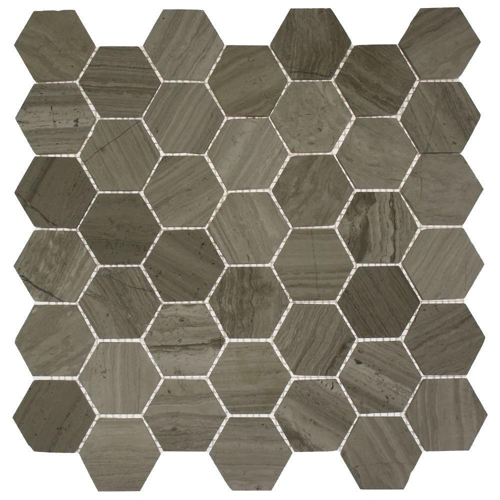 Hexagon Wooden Beige 12 in. x 12 in. x 8 mm Mosaic Floor and Wall Tile