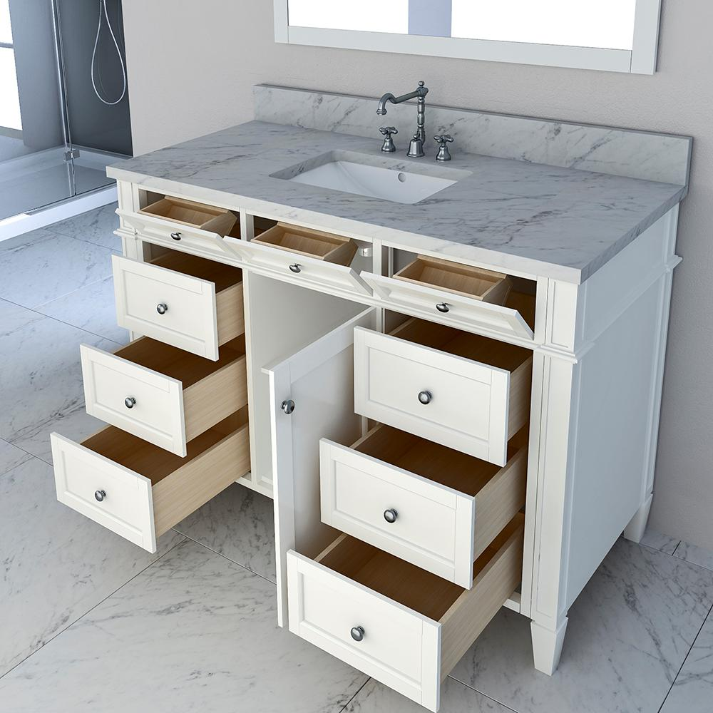 Bath Vanity In White With Marble