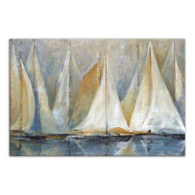 32 in. x 48 in. ''Sailboats On Water'' Printed Canvas Wall Art