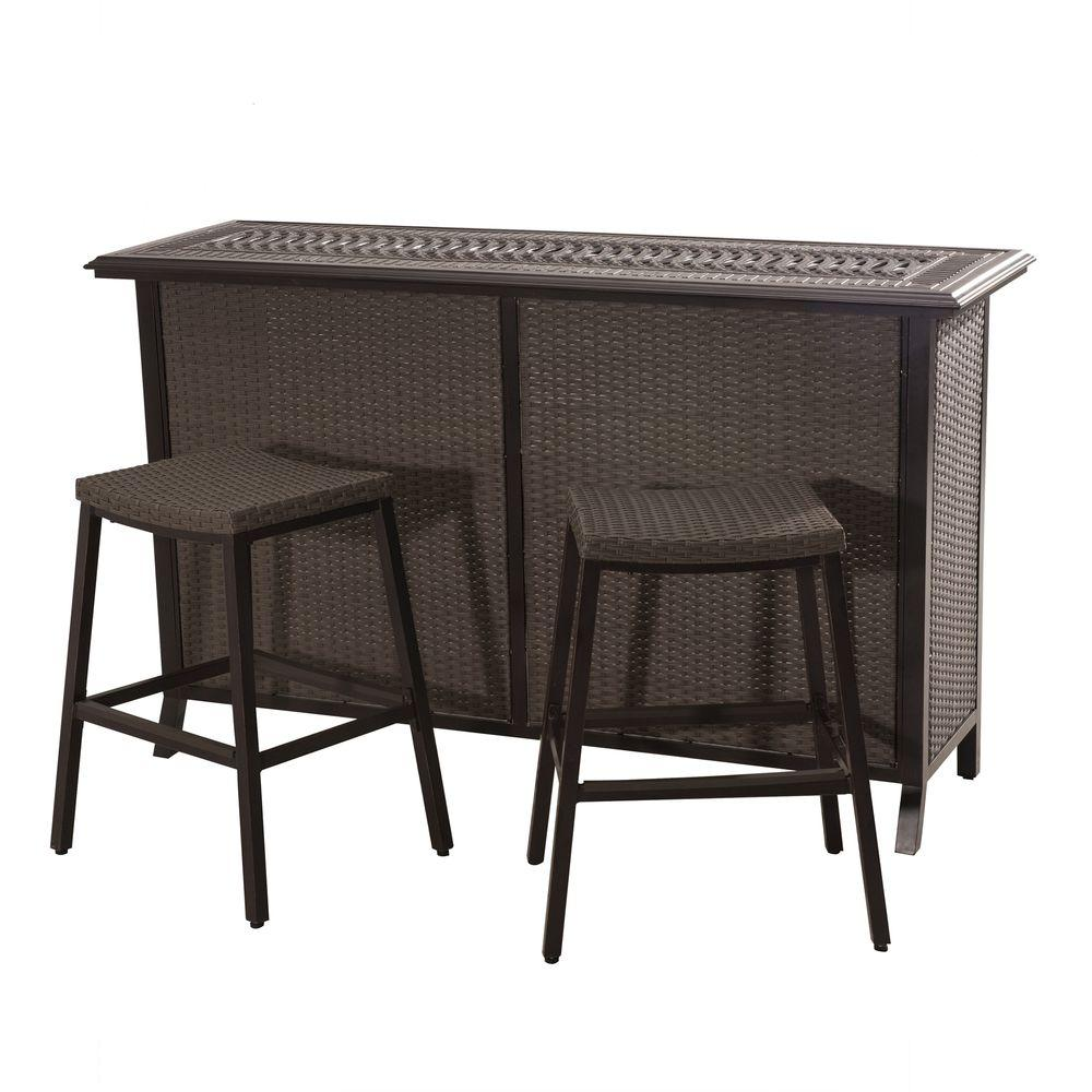 3 piece wicker patio bar set icamblog for Balcony furniture set