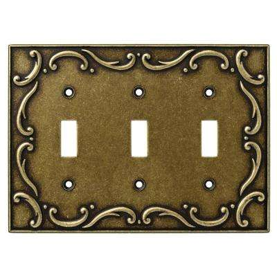 French Lace Decorative Triple Switch Plate, Burnished Antique Brass