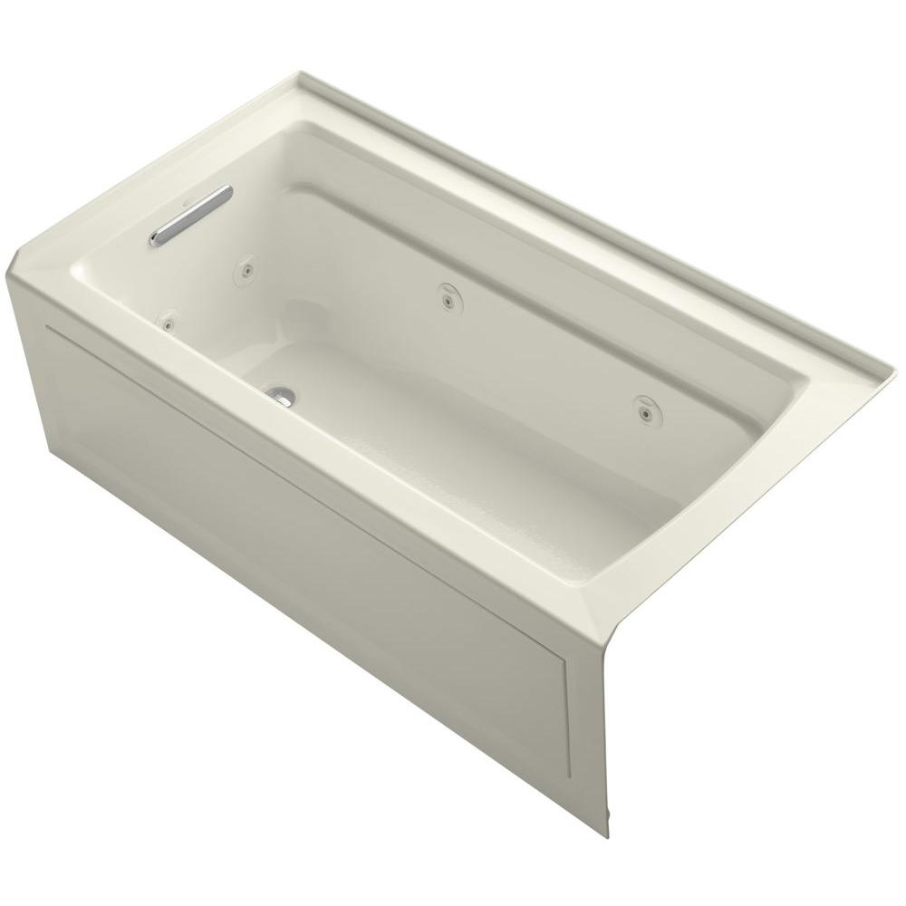 Archer 5 ft. Left-Drain Rectangular Alcove Whirlpool Bathtub in Biscuit
