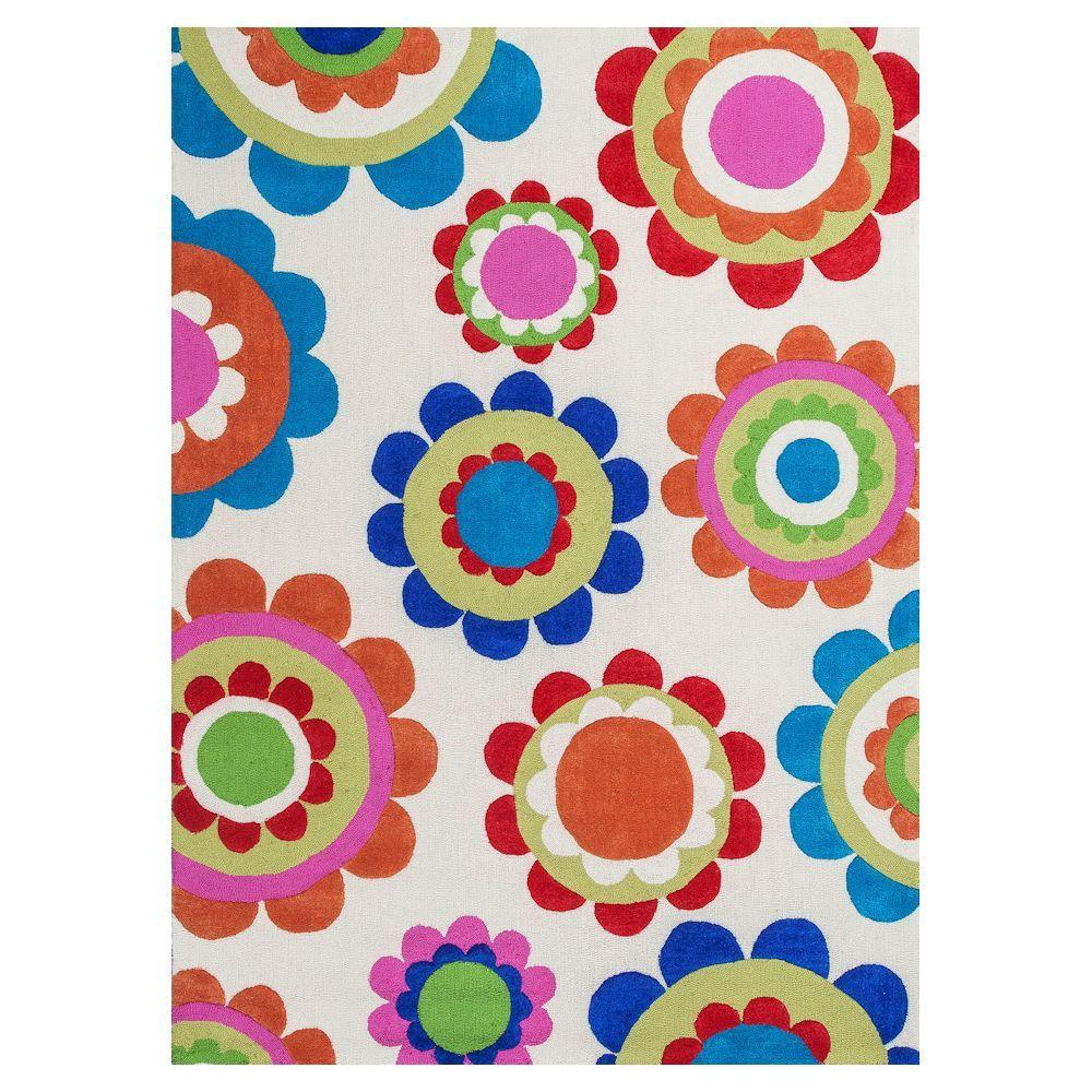 Kas Rugs Flower Pods Ivory/Blue 7 ft. 6 in. x 9 ft. 6 in. Area Rug