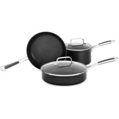 Hard Anodized Nonstick 5-Piece Midnight Black Cookware Set with Lids