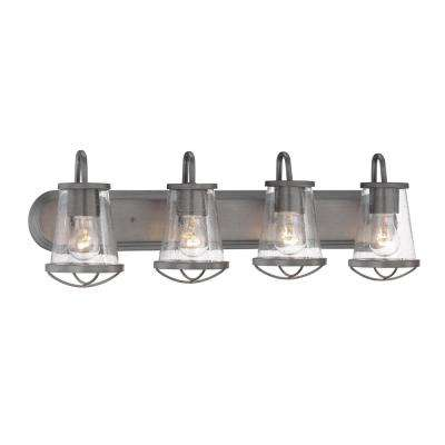 4-Light Weathered Iron Vanity Light with Clear Seedy Glass Shades