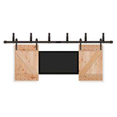 32 in. x 42 in. TV Unfinished Knotty Alder Wood Interior Barn Door with Oil Rubbed Bronze Sliding Door Hardware