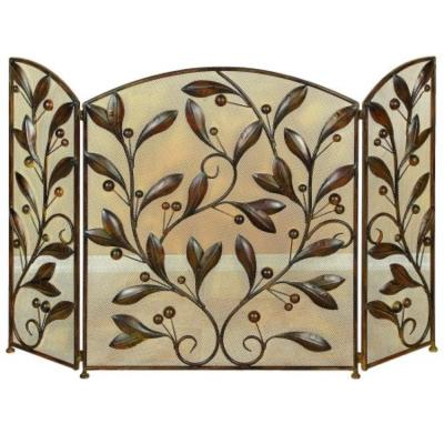 Leaves and Beads Bronze Metal 3-Panel Fireplace Screen