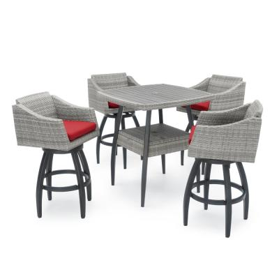 Cannes 5-Piece Wicker Outdoor Bar Height Dining Set with Sunbrella Sunset Red Cushions