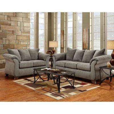 Traditions 3 Piece Gray Sofa, Loveseat And Rocker Recliner Set