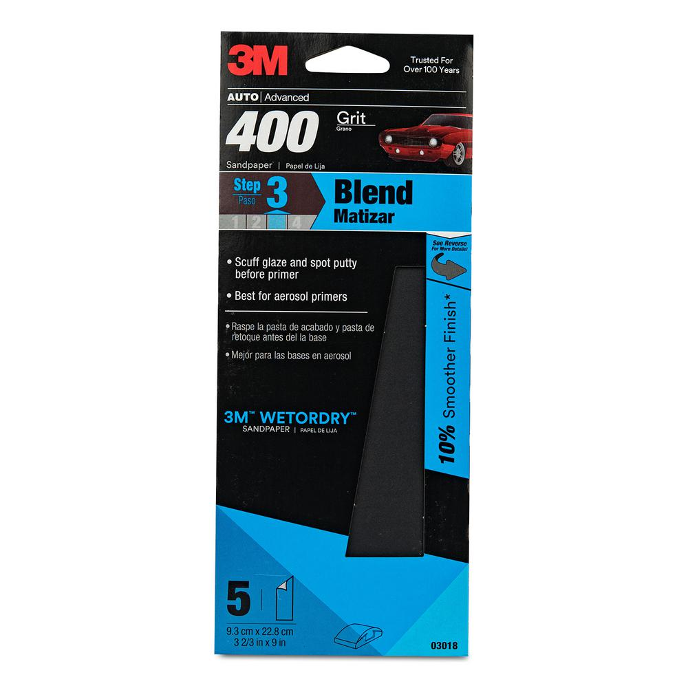 3m Wetordry 3 2 3 In X 9 In 400 Grit Sandpaper 5 Pack 03018 The Home Depot