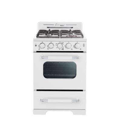 Classic Retro 24 in. 2.9 cu. ft. Gas Range with Convection Oven in Marshmallow White