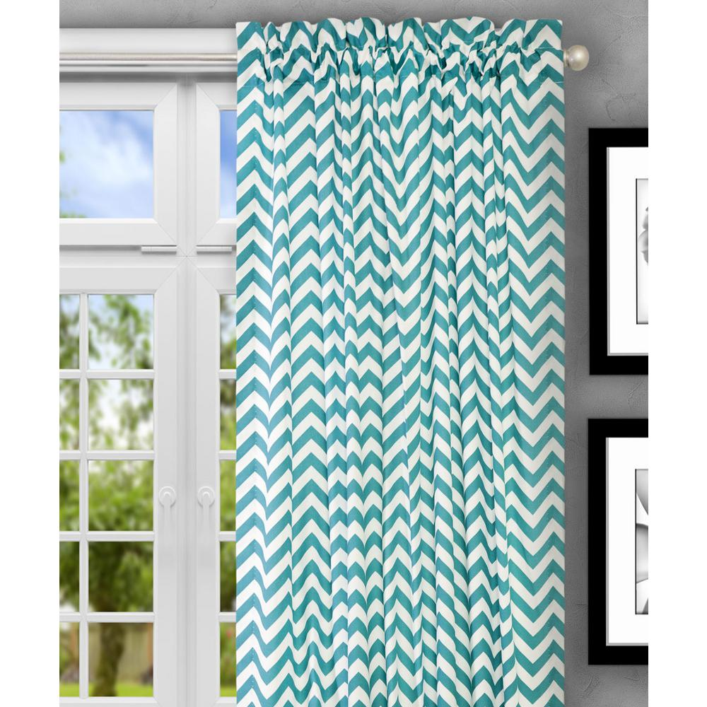 Reston 50 in. W x 84 in. L Turquoise Cotton Tailored Curtain Panel