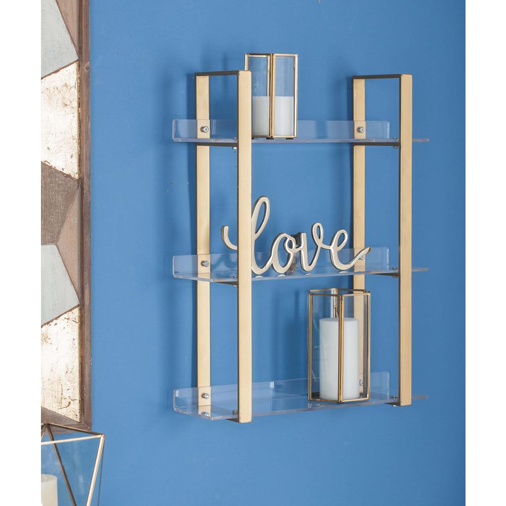 Litton Lane 6 in. L x 19 in. W Modern 3-Tier Iron and Acrylic Shelf ...