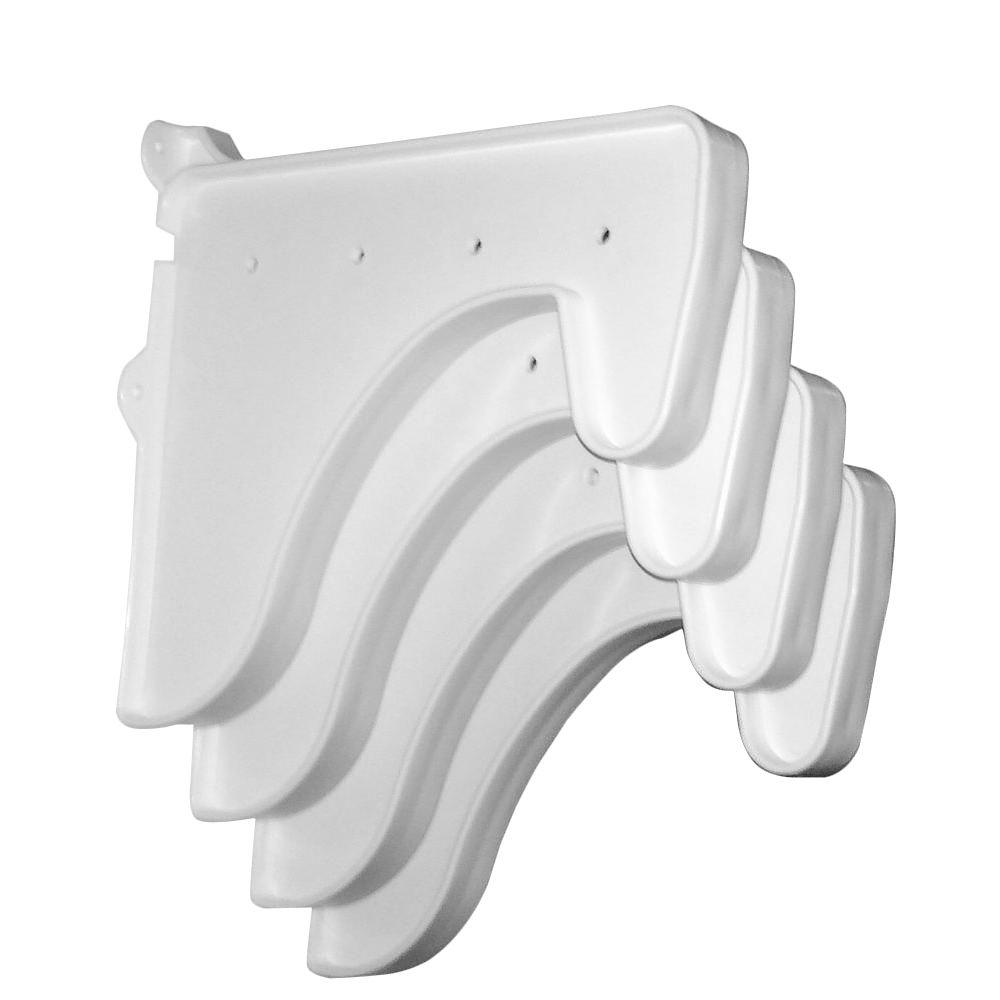 12 in. x 10 in. White End Brackets (Set of 4)