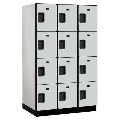 24000 Series 4 Tier 24 in. D 12 Compartments Extra Wide Designer Wood Locker in Gray