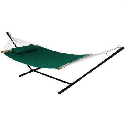 10-3/4 ft. Quilted Double Fabric 2-Person Hammock with Spreader Bars Pillow and Stand in Green