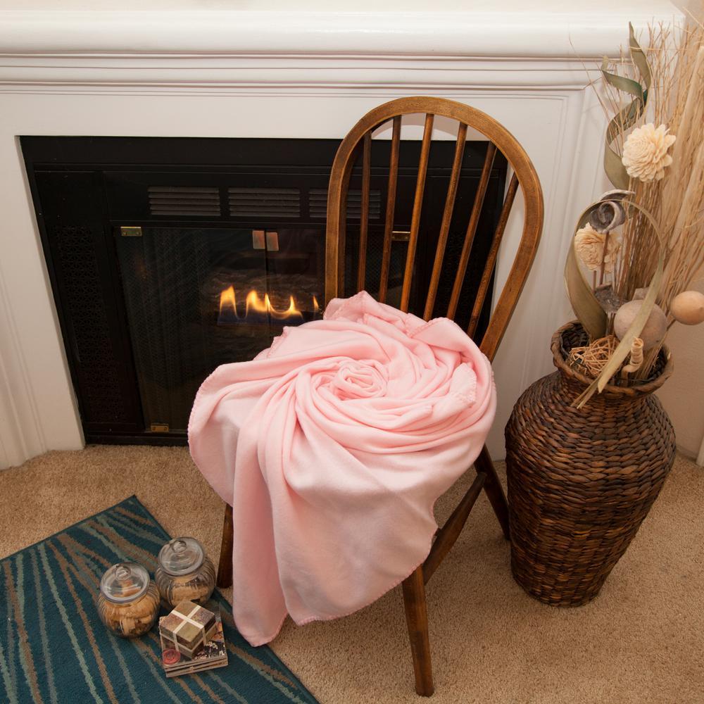 50 in. x 60 in. Pink Super Soft Fleece Throw Blanket (12-Pack)