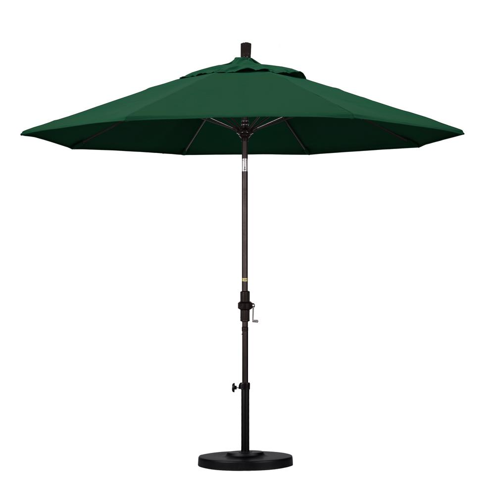 California Umbrella 9 ft. Fiberglass Collar Tilt Patio Umbrella in Hunter Green Olefin