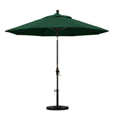 9 ft. Fiberglass Collar Tilt Patio Umbrella in Hunter Green Olefin