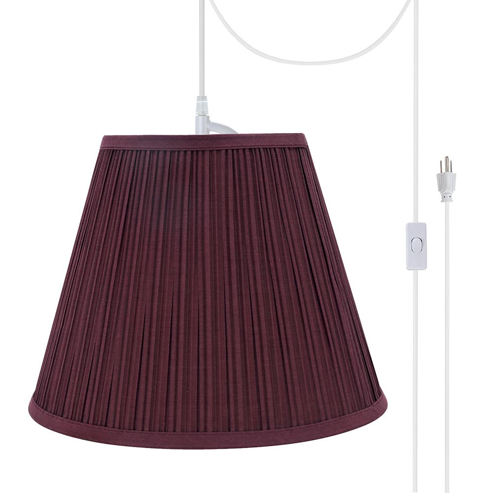 Aspen Creative Corporation 1 Light White Plug In Swag Pendant With Burgundy Pleated Empire Fabric Shade 73052 21 The Home Depot