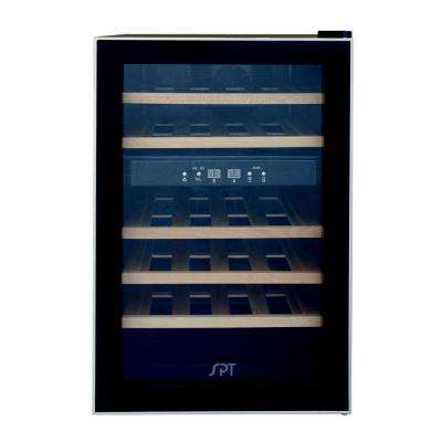 Dual Zone 17.7 in. 24-Bottle Wine and 70-Can Beverage Cooler with Wooden Shelves