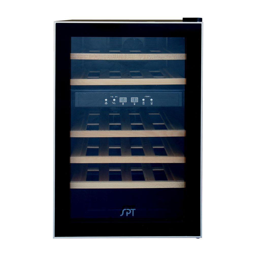 Dual Zone 17.7 in. 24-Bottle Wine Cooler with Wooden Shelves