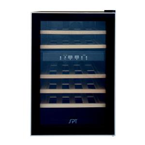 Click here to buy SPT Dual Zone 17.7 inch 24-Bottle Wine Cooler with Wooden Shelves by SPT.