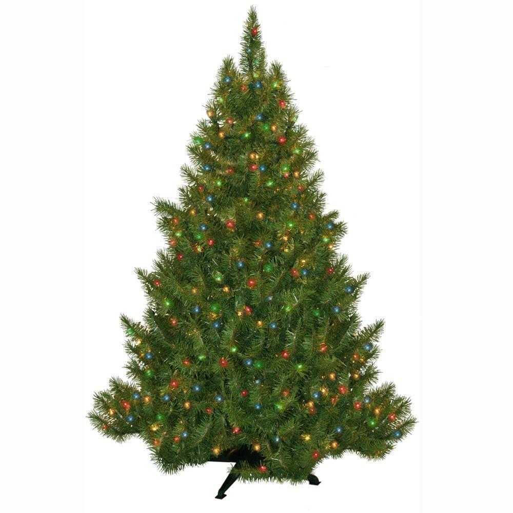General Foam 4.5 ft. Pre-Lit Carolina Fir Artificial Christmas ...