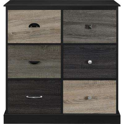 Newbridge Black 6-Door Storage Cabinet with Multicolored Door Fronts
