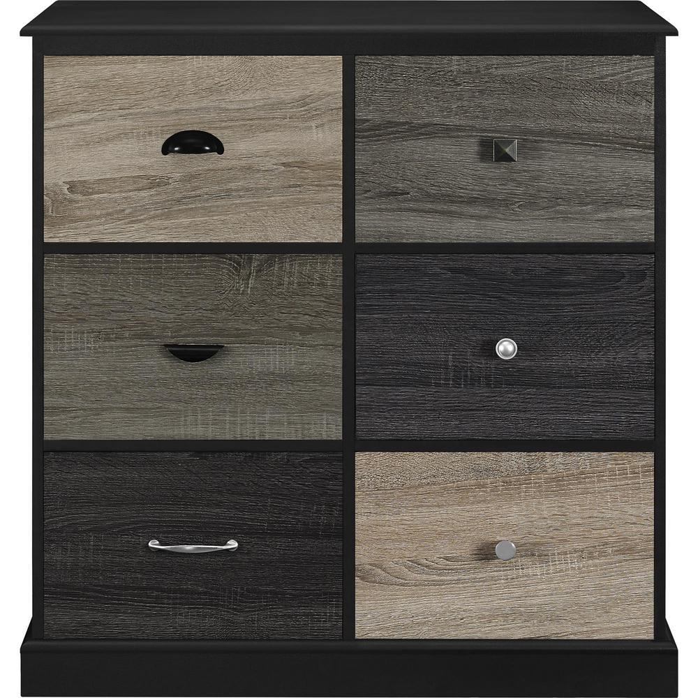 Ameriwood Home Newbridge Black 6-Door Storage Cabinet with Multicolored Door