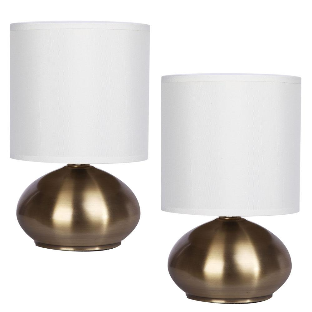 9.25 in Brass Metal Finish Touch Accent Lamp with Shade (Set