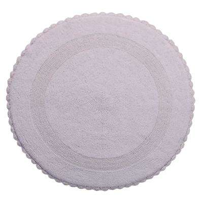 Crochet Lace 36 in. Round Cotton Reversible White Hand Knitted Crochet Lace Border Machine Washable Bath Rug