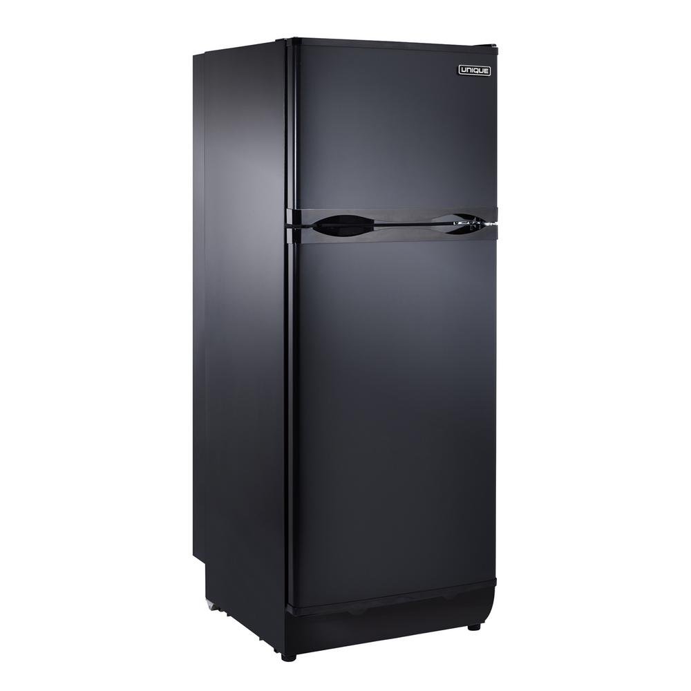 Unique 8 cu  ft  Propane Top Freezer Refrigerator Dual Power in Black  (Propane/110-Volt)