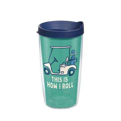Life Is Good Golf Cart 16 oz. Clear Tumbler with Lid
