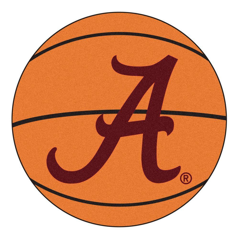 NCAA University of Alabama Crimson A Logo Orange 2 ft. x 2 ft. Round Area Rug
