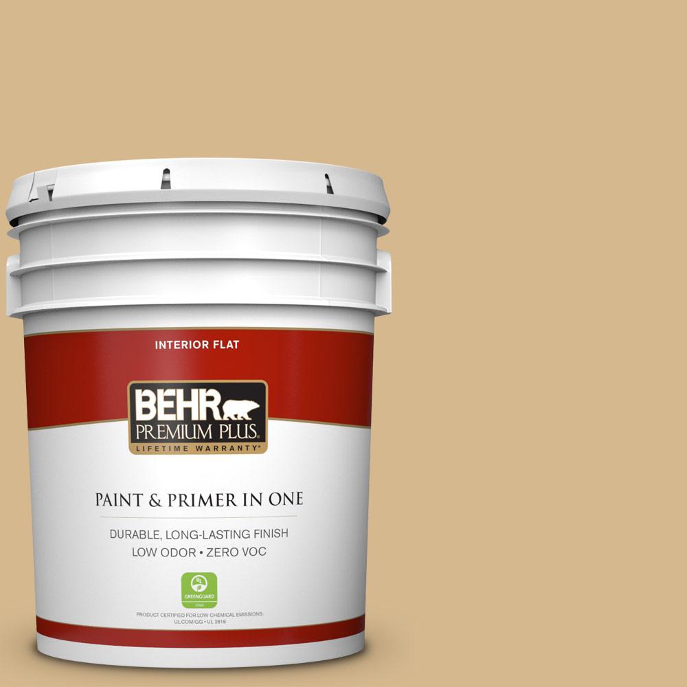 BEHR Premium Plus 5-gal. #BXC-34 Mineral Yellow Flat Interior Paint